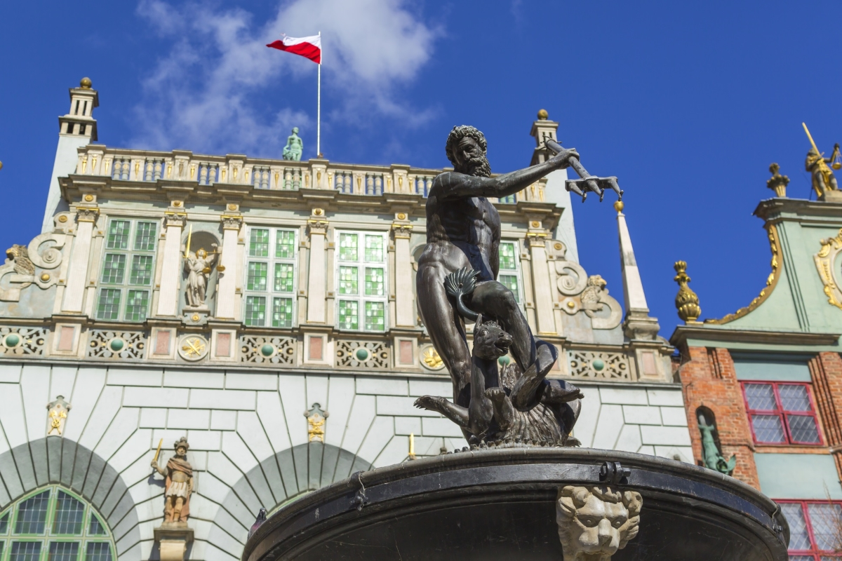 Neptune Fountain in front of Artus Court in Gdansk, Poland